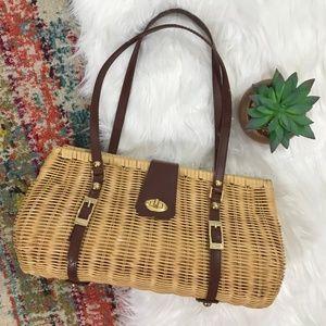 33f56c41c161 Accordion Wicker Straw Basket Shoulder Bag